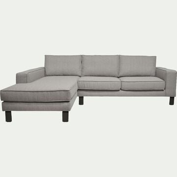 Canapé d'angle fixe gauche en tissu gris restanque-CALIFORNIA