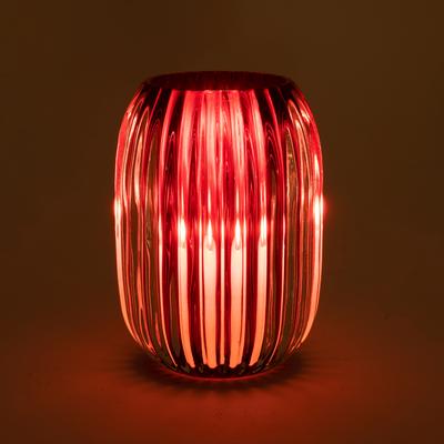 Photophore en verre rouge D9,5xH13cm-DANA
