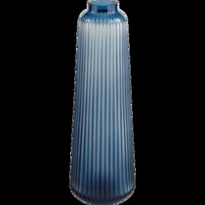 Vase en verre bleu H40cm-LOTUS