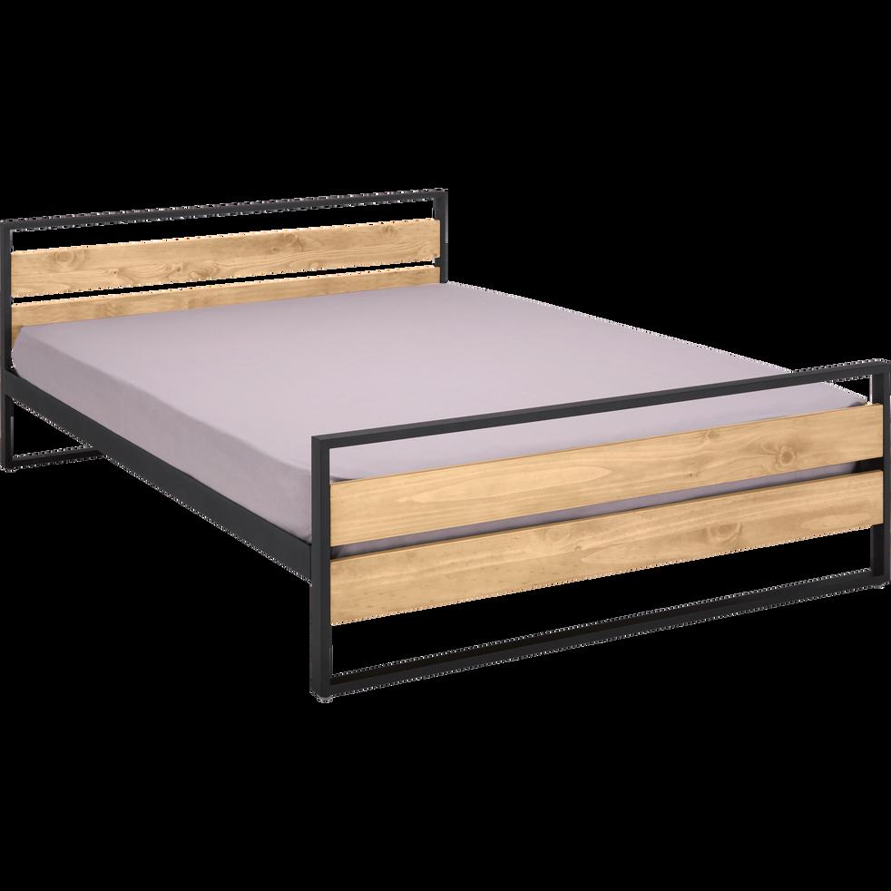 lit 2 places bois et m tal avec t te et pieds de lit 140x190 cm endoume 140x190 cm lits. Black Bedroom Furniture Sets. Home Design Ideas