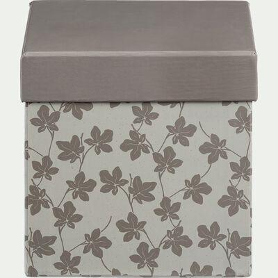 Boite en carton motif figuier - vert 12x12cm-FIGUIER