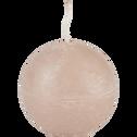 Bougie ronde rose grège D6cm-BEJAIA