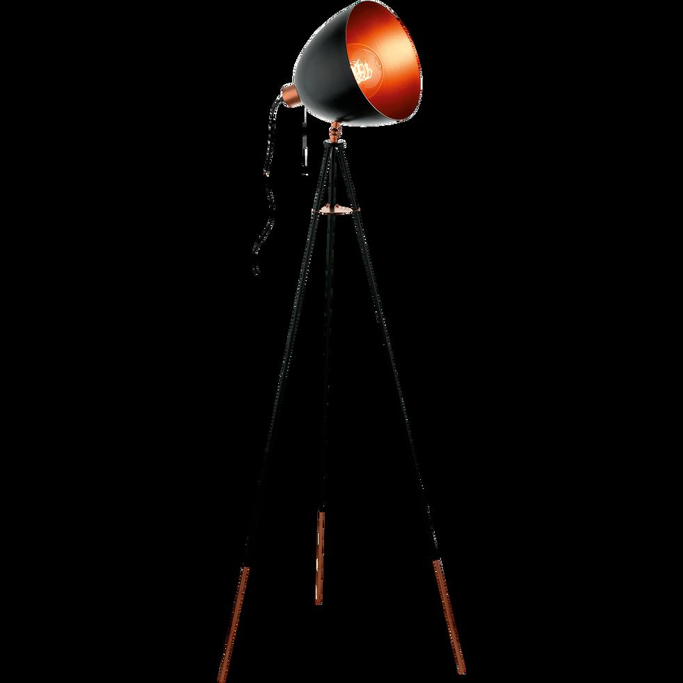 Lampadaire forme projecteur en acier noir et cuivre H135cm-CHESTER