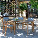 Chaise de jardin en eucalyptus empilable avec accoudoirs gris-DEGABY