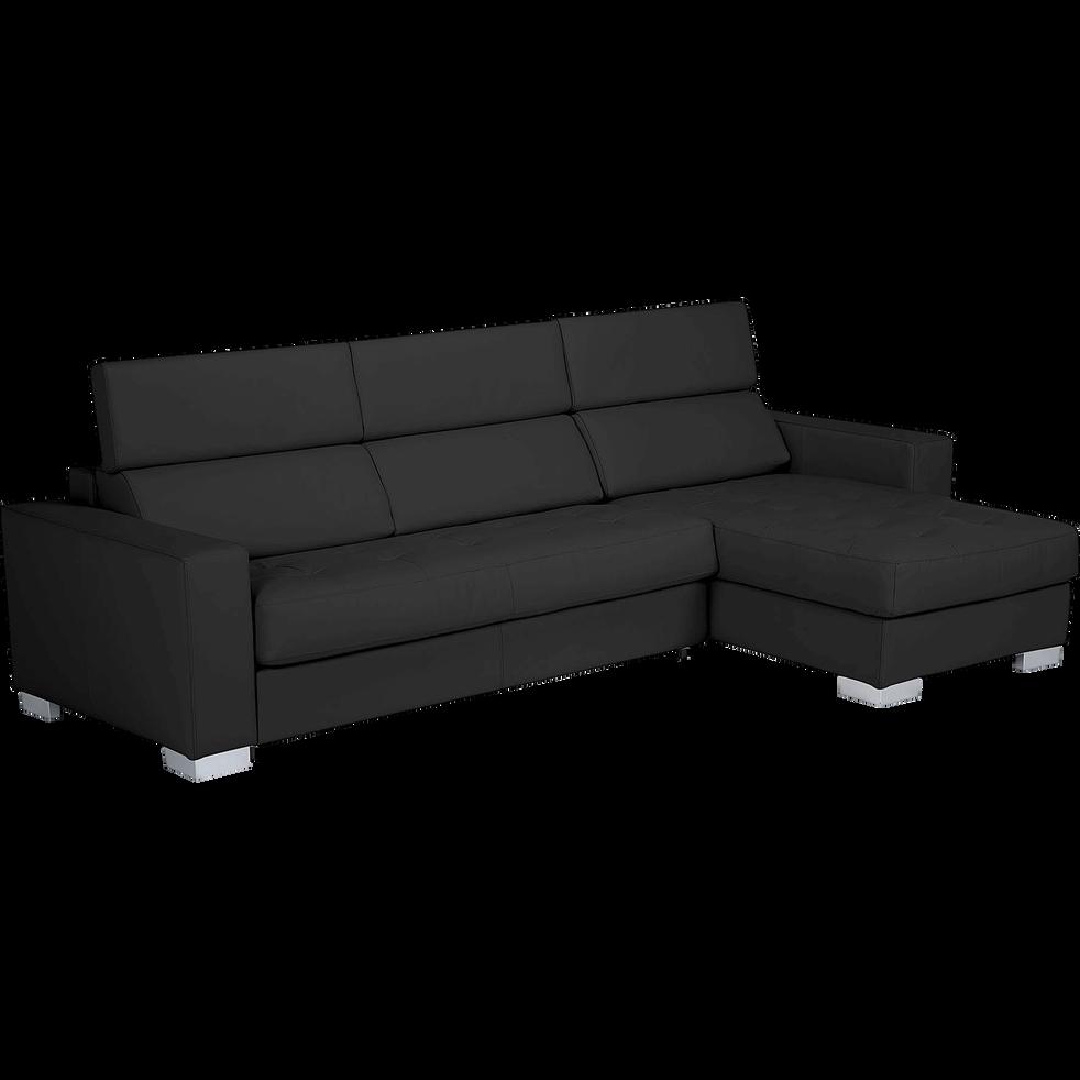 Canapé d'angle réversible fixe en cuir de buffle noir-Mauro