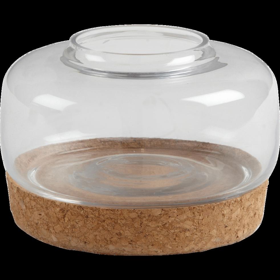 Vase en verre avec support en liège D13cm-POMMIER