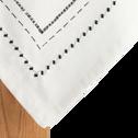 Nappe en coton blanc et noir 170x170cm-MEDINE