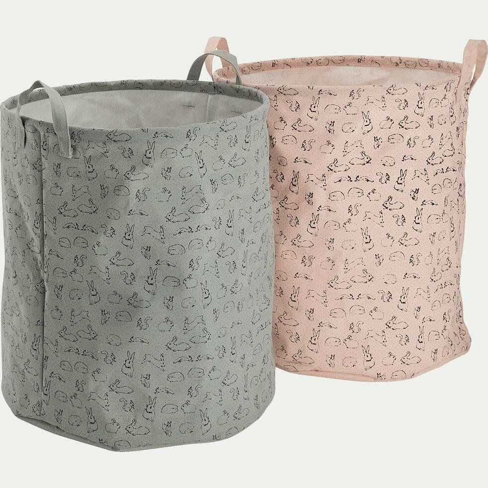 Panier de rangement avec motif - rose D40xH40cm-Lony