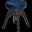 Tabouret en velours bleu myrte - H45cm-FAUSTINE