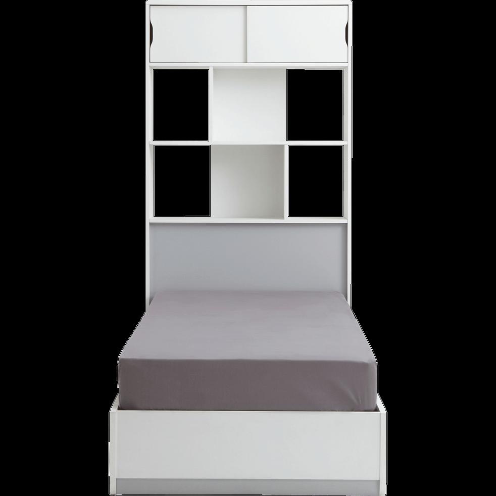 Tête de lit rangeante Blanc pour lit L90 cm-COOL
