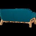 Canapé 3 places fixe en tissu bleu-VIK