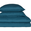 Drap housse en lin Bleu figuerolles 90X200cm bonnet 28cm-VENCE