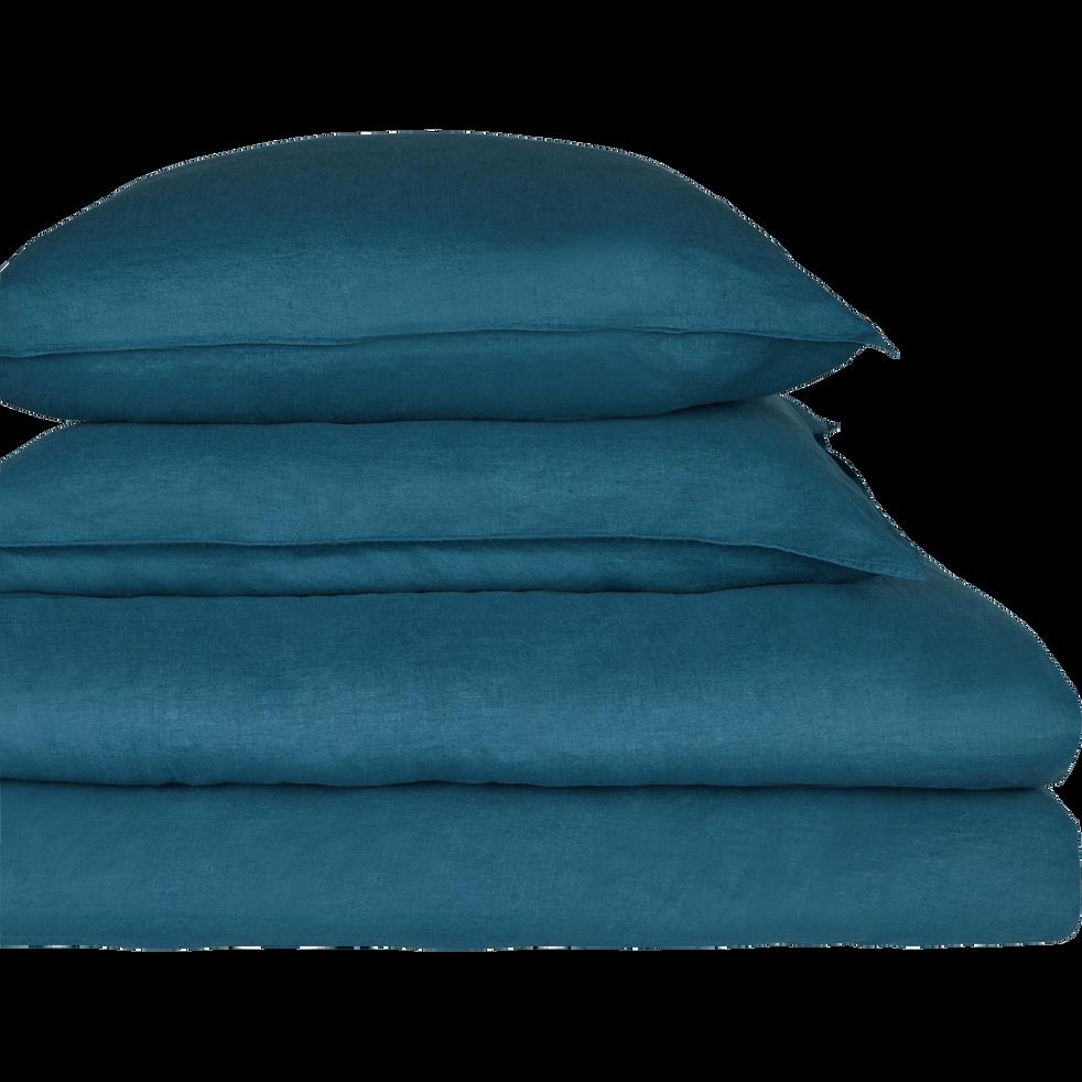 drap housse en lin bleu figuerolles 90x200cm bonnet 28cm vence 90x200 cm catalogue. Black Bedroom Furniture Sets. Home Design Ideas