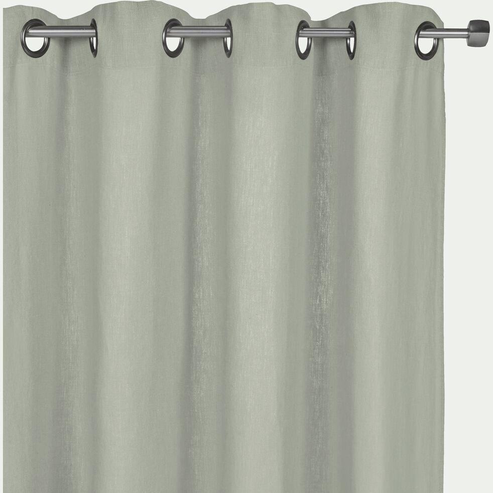 Rideau à œillets en lin lavé - vert olivier 140x280cm-VENCE