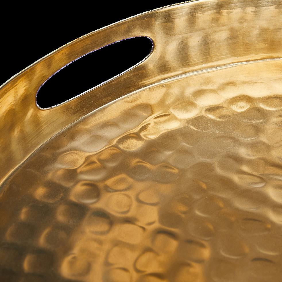 Plateau en métal noir et doré D48cm-Ermita