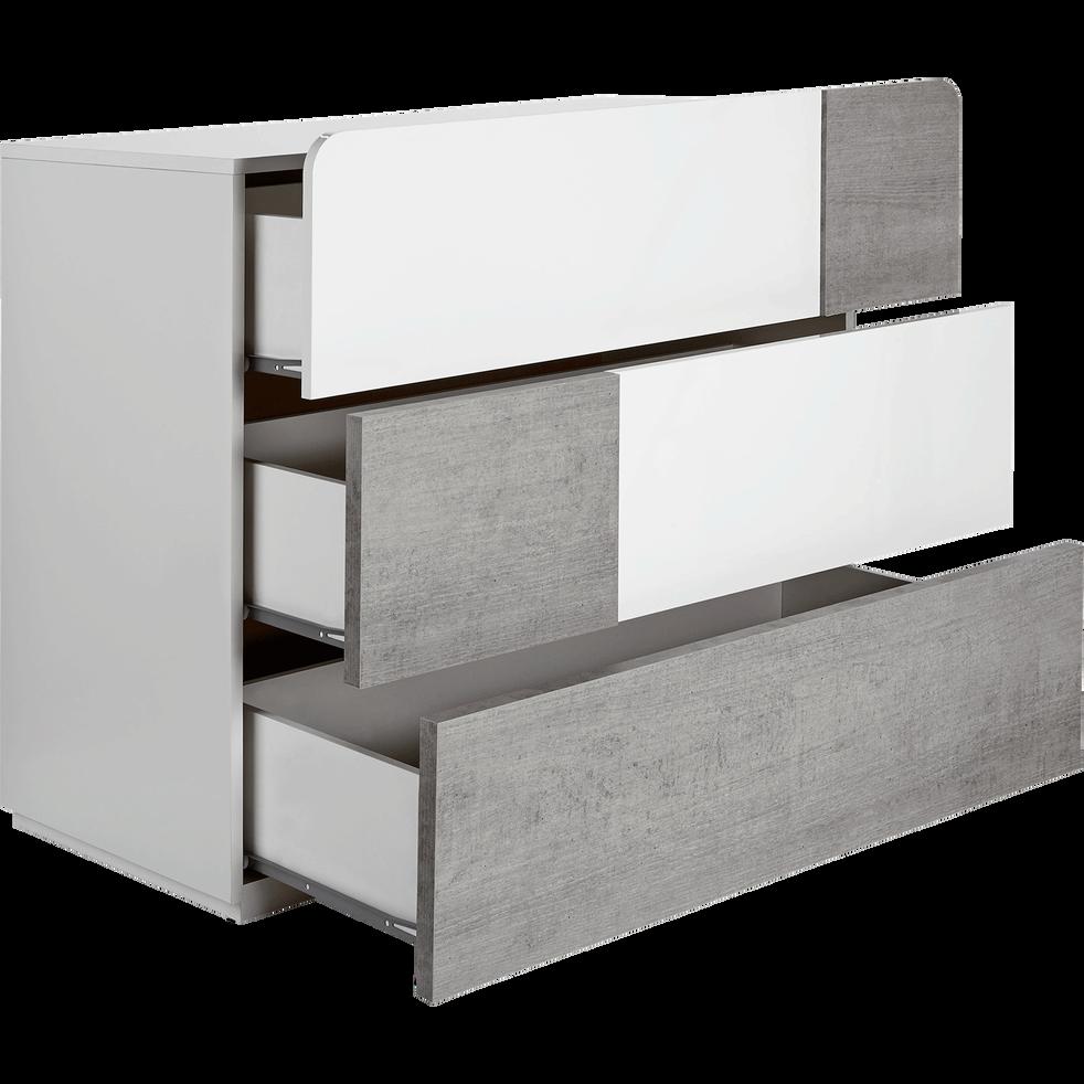 commode 3 tiroirs blanc laqu et b ton delia commodes alinea. Black Bedroom Furniture Sets. Home Design Ideas
