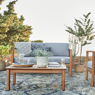 Salon de jardin en acacia huilée (3 places) - naturel