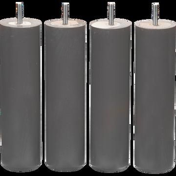 Pieds de sommier gris H20 cm - jeu de 4-Cylindre