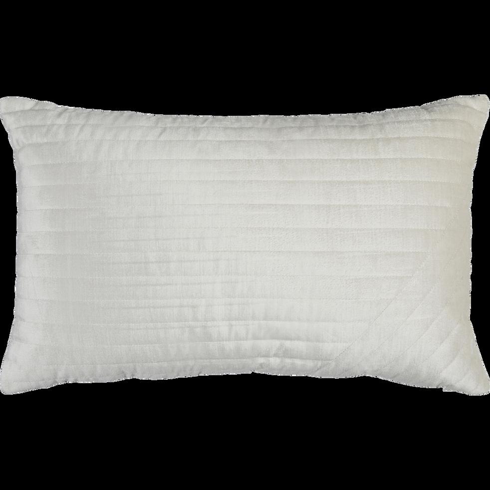 Coussin en velours piqué blanc 30x50cm-TILT