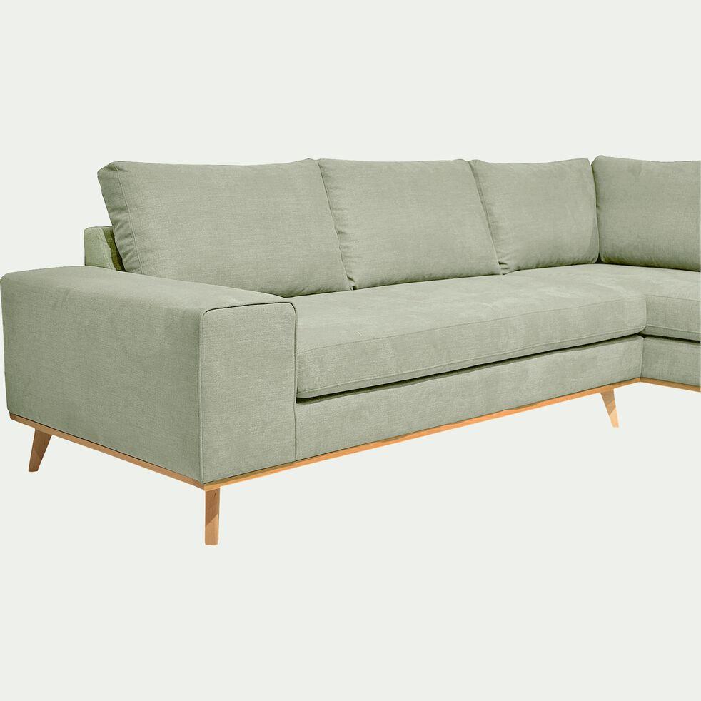 Canapé d'angle fixe droit en tissu - kaki-PICABIA