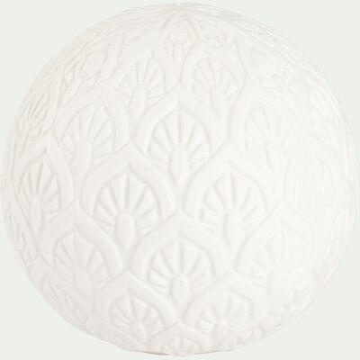 Boule déco lumineuse gravée en grès - blanc D10,3cm-JODHPUR