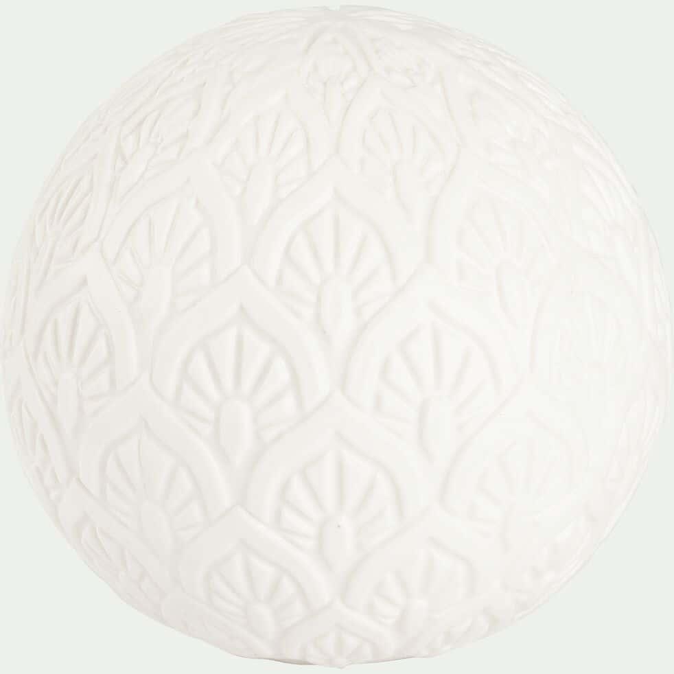 Boule déco gravée en grès - blanc D10,3cm-JODHPUR