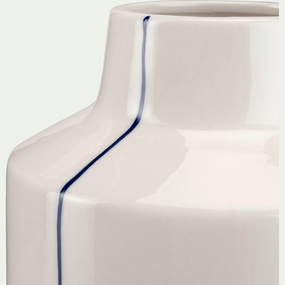 Vase en céramique à rayures - blanc D15XH24,5cm-IZMIT