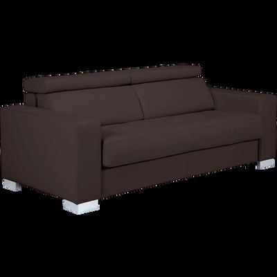Canapé 3 places convertible en cuir de buffle marron-MAURO