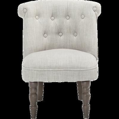 Petit fauteuil en tissu style crapaud écru-MINI CHANTE