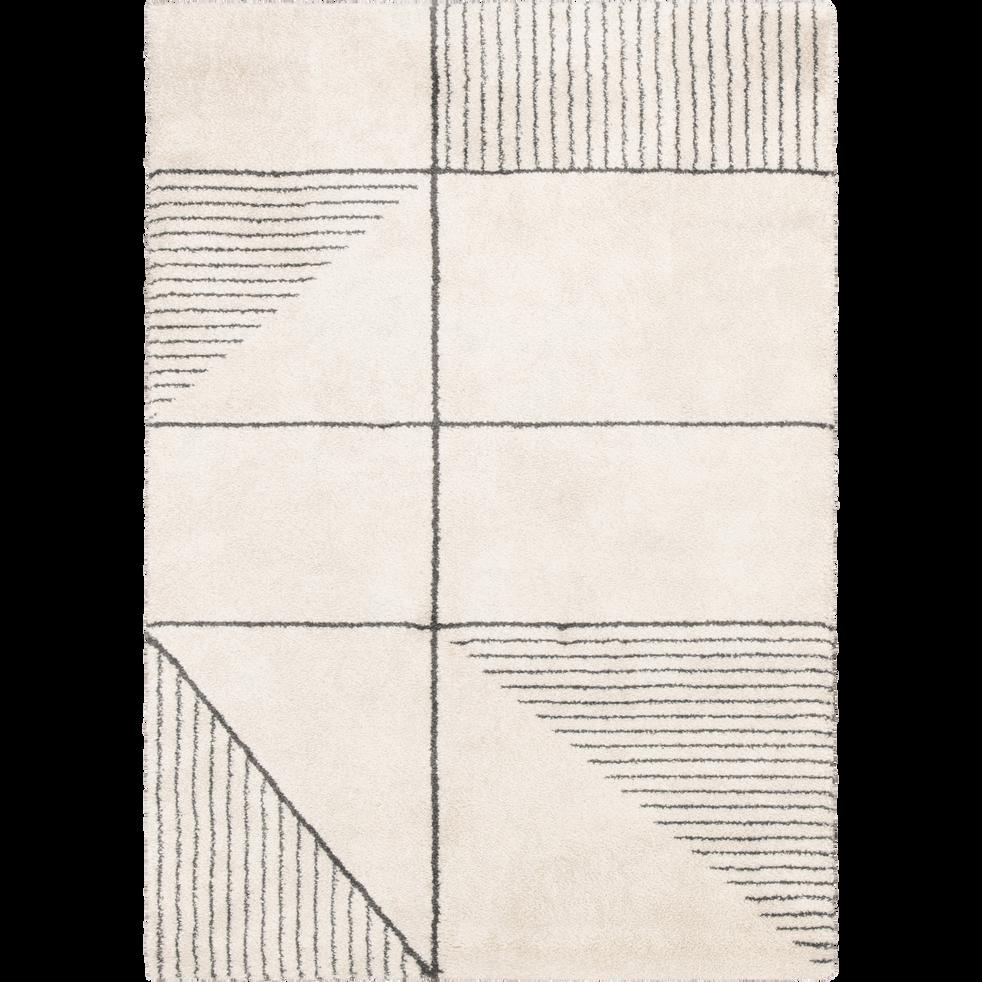 Tapis écru motifs gris 160x230cm-FIDJI