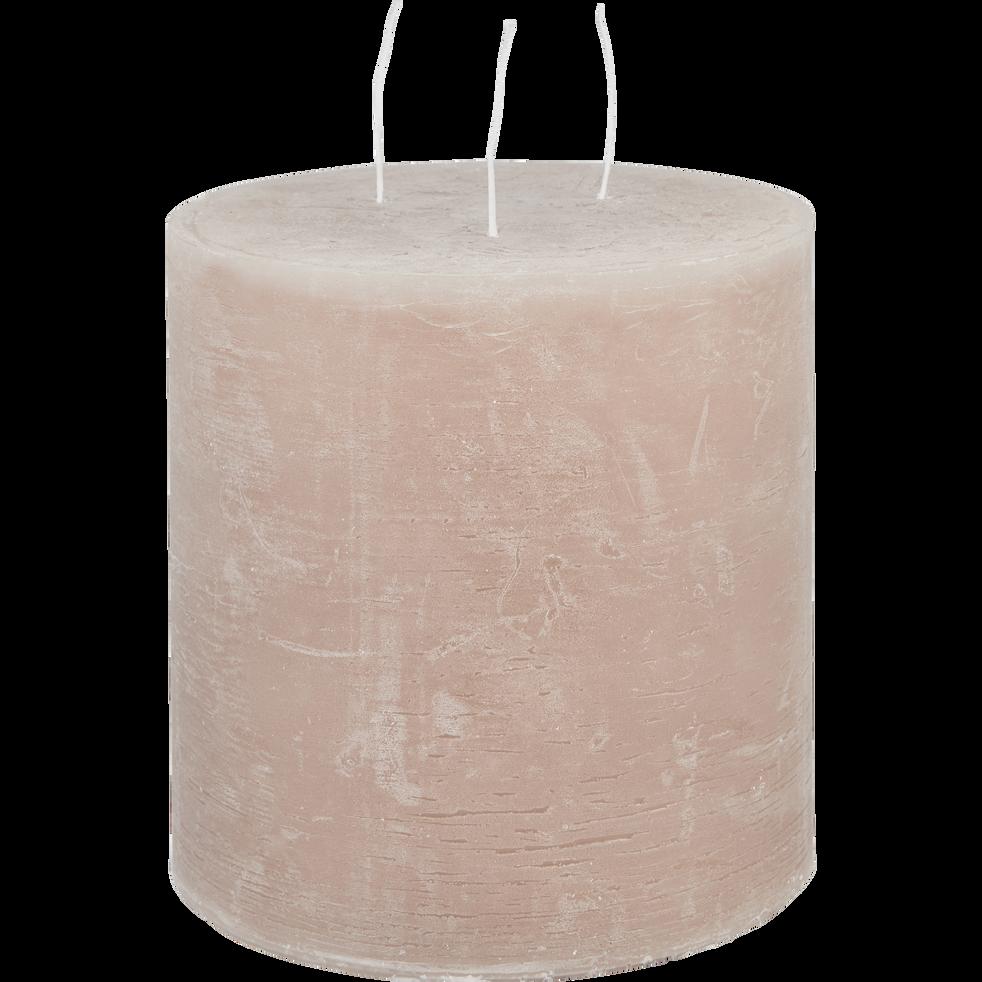 Bougie lanterne rose grège D15xH15cm-BEJAIA