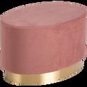 pouf en velours forme ovale rose-AUVE