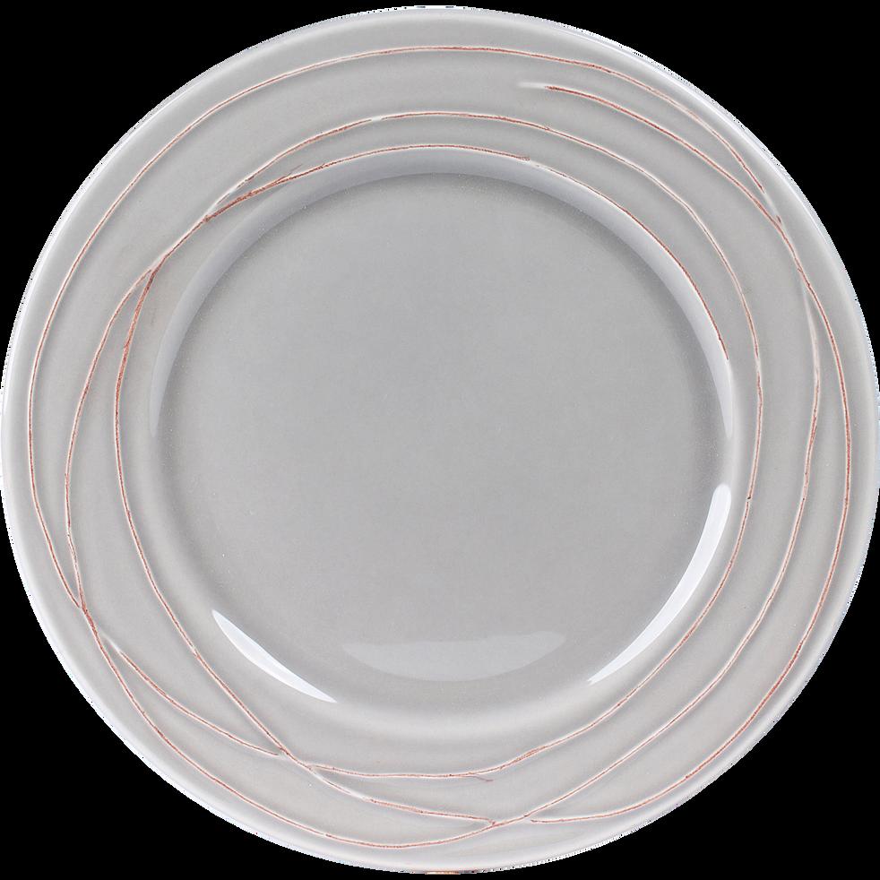 Assiette creuse en faïence gris et terracotta D19cm-FILIA