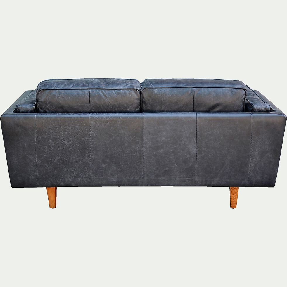 Canapé 2 places fixe en cuir de vachette - noir-BROOKLYN