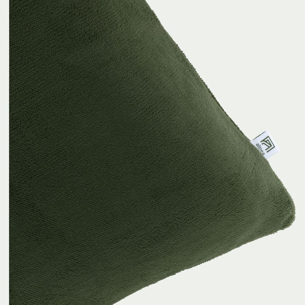 Housse de coussin effet polaire en polyester - vert cèdre 40x60cm-ROBIN