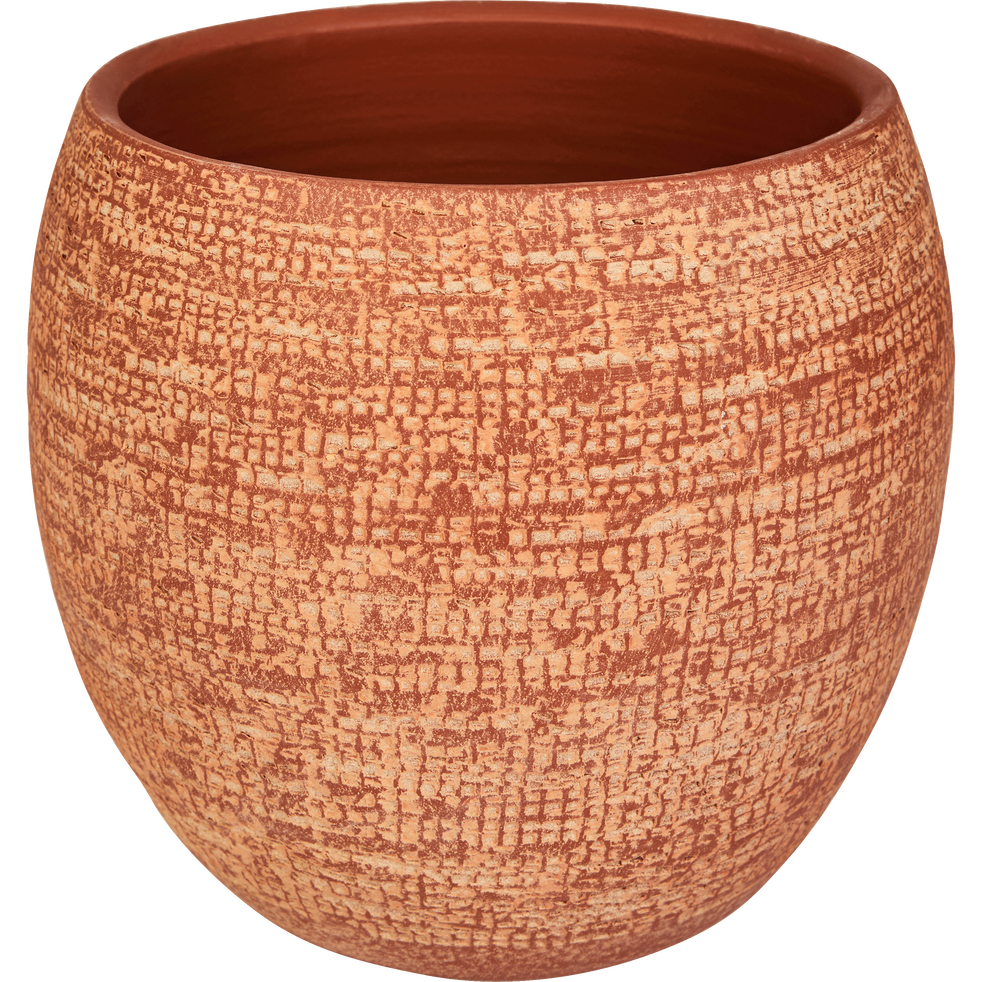 Cache-pot en terre cuite orange brique D19 cm-Essaouira