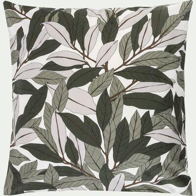 Lot de 2 taies d'oreiller 63x63cm en coton motif laurier - vert-SARA