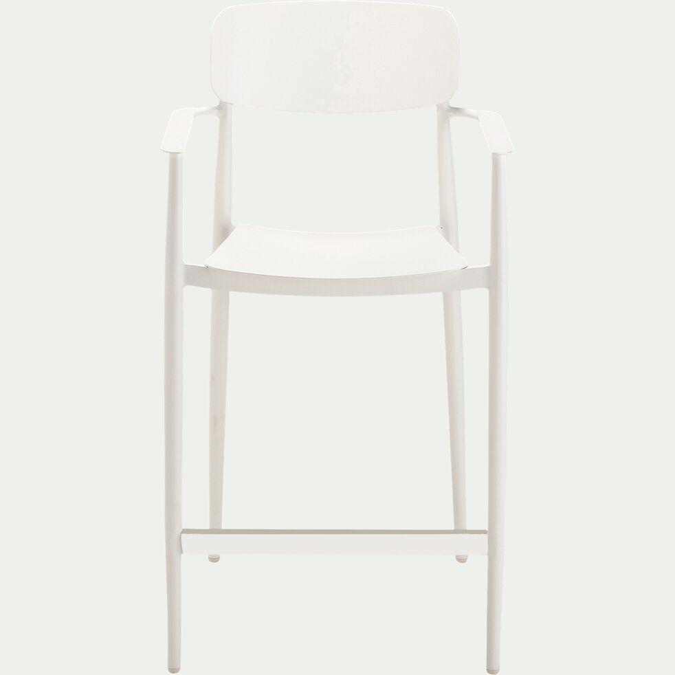 Chaise de bar empilable en aluminium - blanc-DOMINGOS