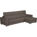 Canapé d'angle réversible fixe en cuir de buffle taupe-Mauro