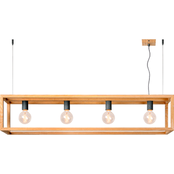Suspension en métal placage bois  à 4 lumières L120cm-ORIS