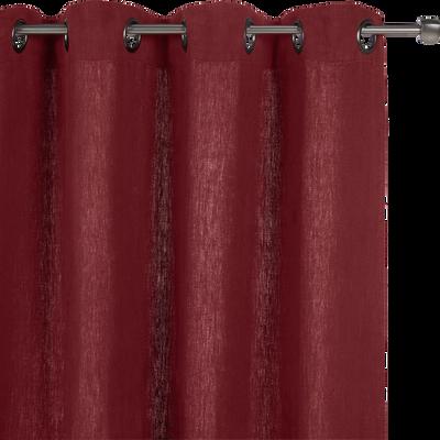 Rideau à oeillets en lin lavé rouge sumac 140x280cm-VENCE