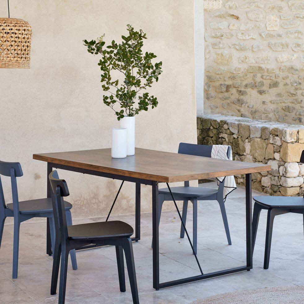 Table de repas rectangulaire effet bois et acier - 6 places-MANILLE