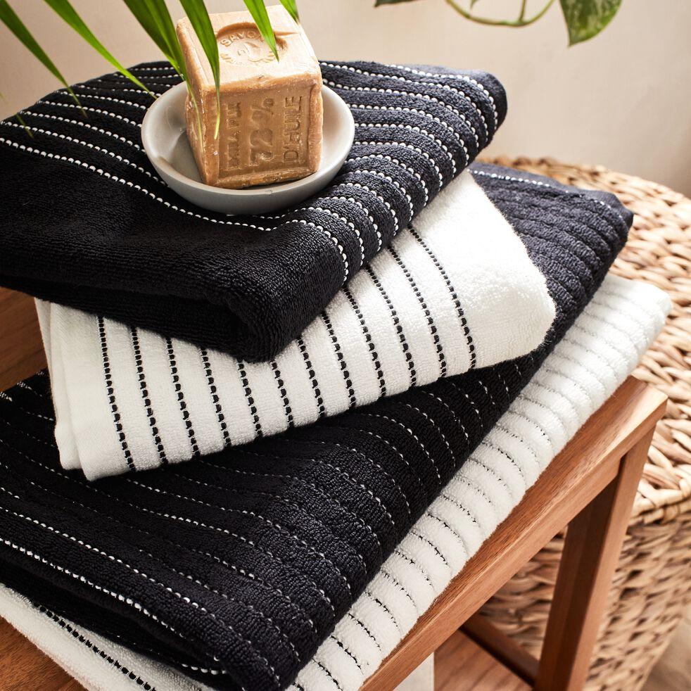 Serviette invité en coton - noir 30x50cm-Rhodes