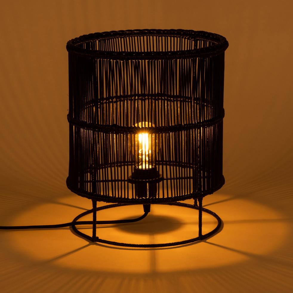 Lampe à poser en bambou noir H30xD25cm-Joice