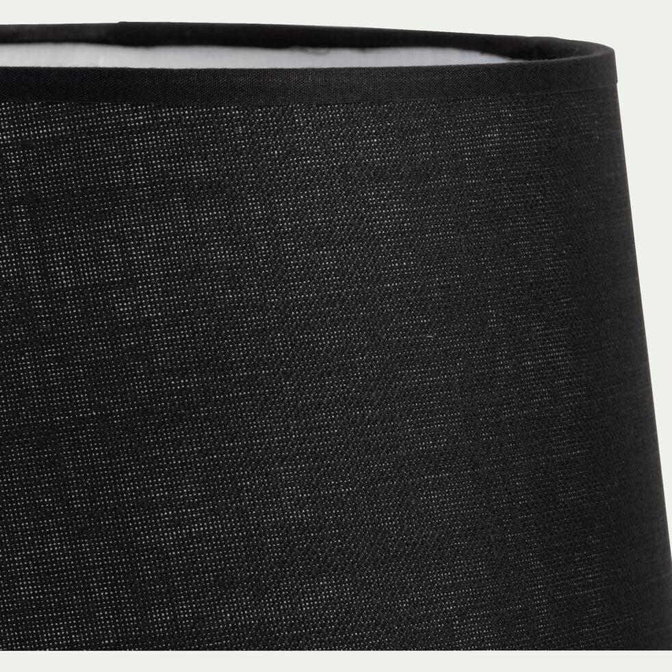 Abat-jour tambour en coton - D23cm noir-MISTRAL