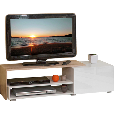 Meuble TV coloris blanc et chêne