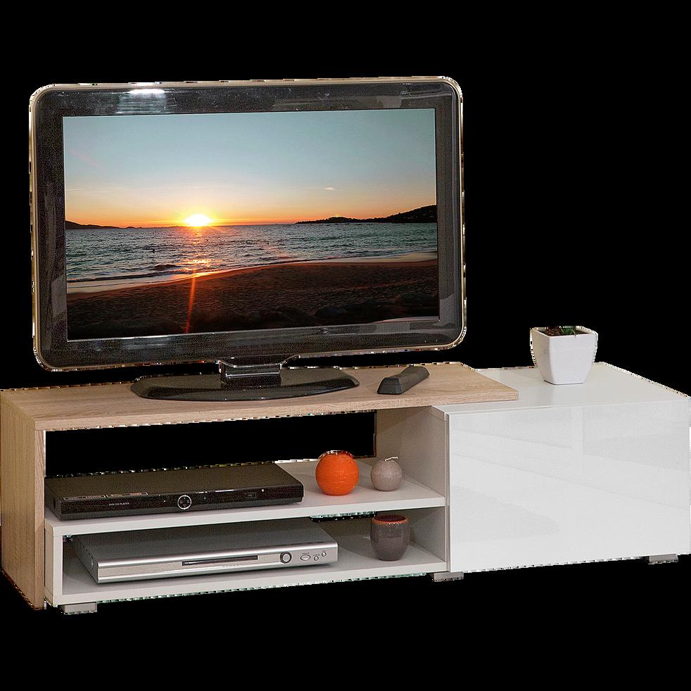 Meuble TV coloris blanc et chêne-LOGO