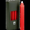 8 bougies flambeaux rouge azérole H18cm-HALBA
