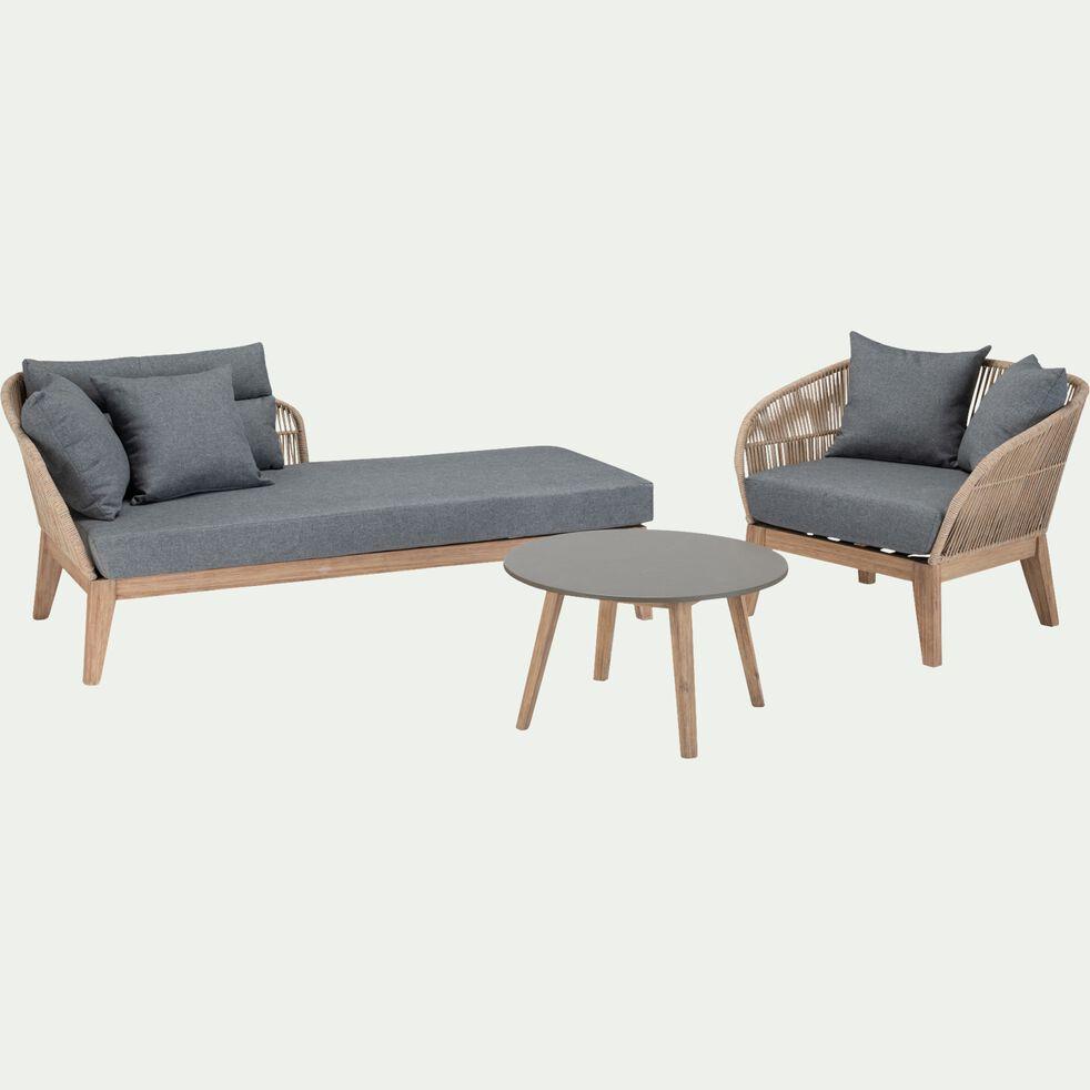 Table basse en acacia et pierre - gris-PATI