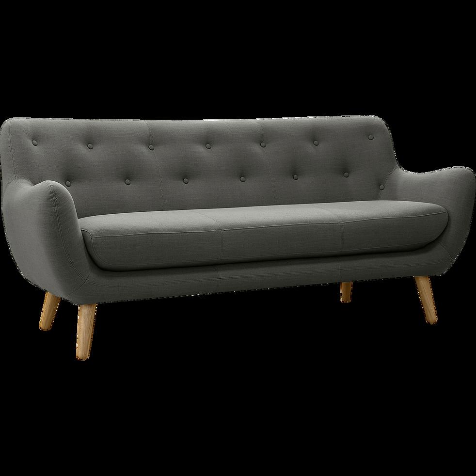canap 3 places fixe gris clair poppy canap s droits en tissu alinea. Black Bedroom Furniture Sets. Home Design Ideas
